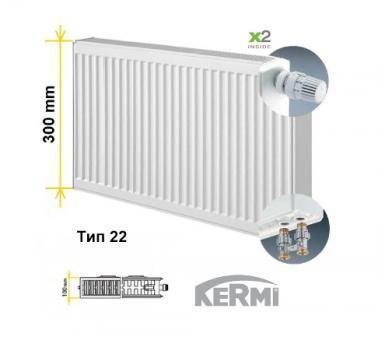 Радиатор сталь нижнее подключение тип 22  высота 300 мм KERMI